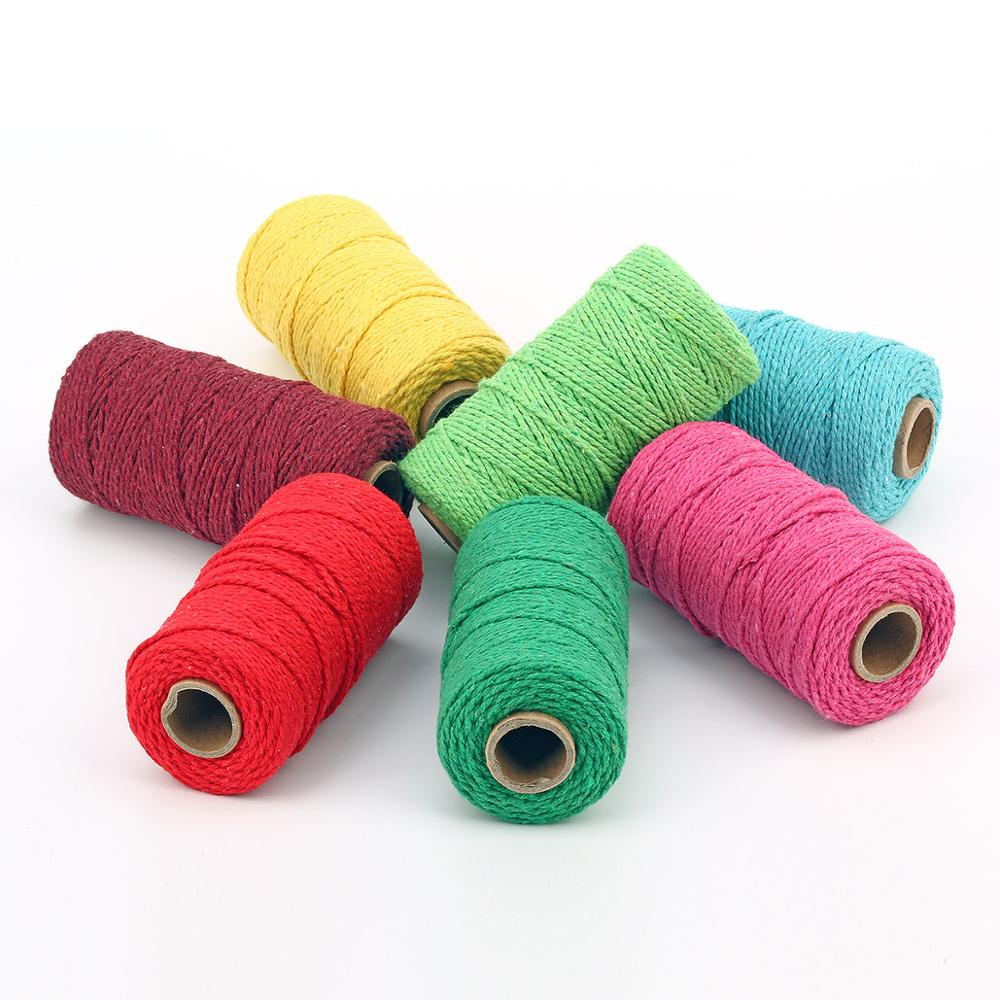 Natural Macrame Cotton Cord Strand Twisted Cotton Rope for Wall Hanging Crafts