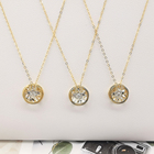 Gold Jewelry Gold Solid Gold Real Diamonds Round Shape Charm Necklace Women Jewelry New Design For 18K Pure Pendant Necklaces Link Chain 1 Pcs
