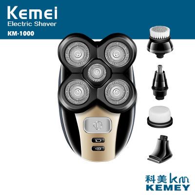 KM-1000 360 Вращающаяся 5D динамическая система бритья, перезаряжаемая электрическая бритва для влажного и сухого бритья бороды