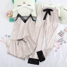 Женский пижамный комплект JULY'S SONG из 3 предметов, шелковые сексуальные шорты для сна, женский топ и длинные штаны, летний Пижамный костюм на б...(Китай)