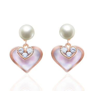Drop Colorful Clutch Heart Jewelry Back 925 Sterling Silver Earring