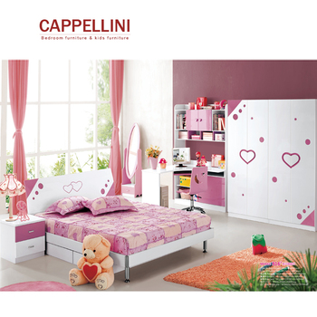 Custom pink girls wooden children furniture king sized kids bed sets bedroom