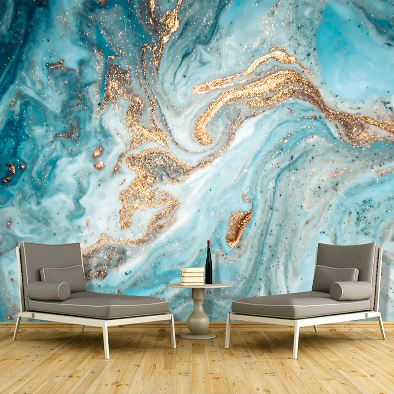 Custom 3d Mural Wallpaper Blue Ink Landscape Art Wall Painting Abstract Golden Marble Texture Living Room Wallpapers Home Decor Buy Kitchen Wallpaper Cork Wallpaper Wall Paper Sticker Product On Alibaba Com