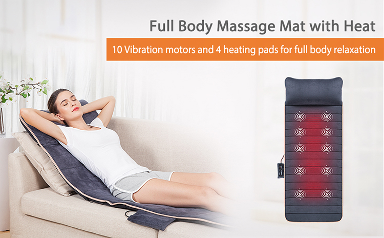 Massage Mat with 10 Vibration Motors and 4 Therapy Heating pad Full Body Massager Cushion
