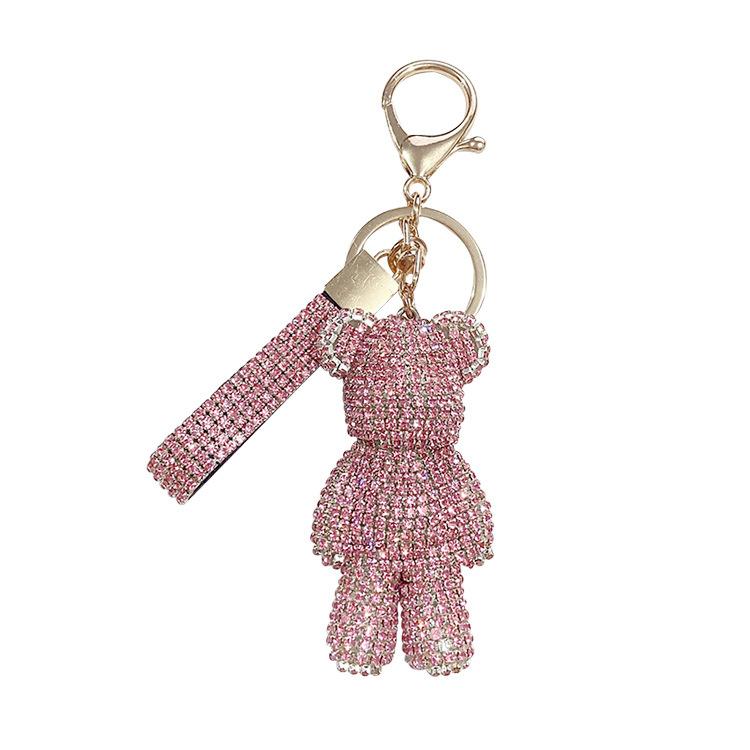 Keychain inlaid with DIA leather rope bear cartoon keychain car key pendant online celebrity bag pendant ins fashion keychain