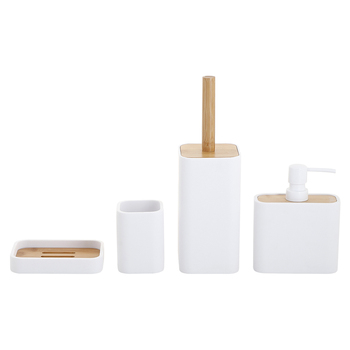 Polyresin Bathroom accessories 4pcs set Bath countertop rectangular shape Pure white body with Natrual bamboo
