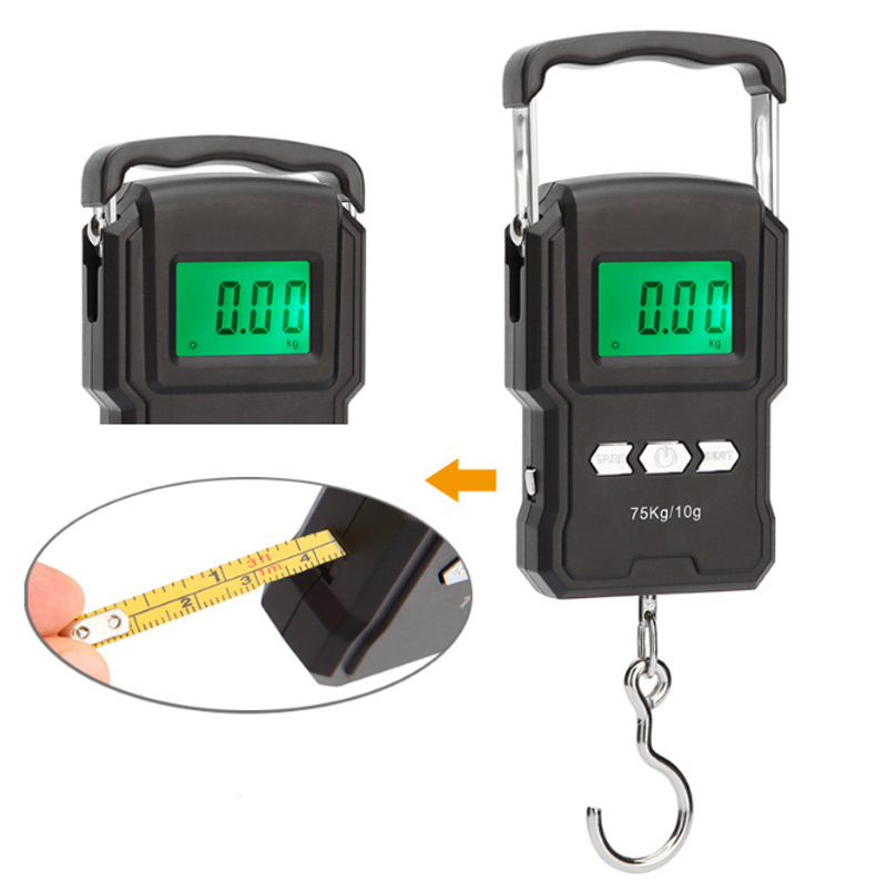 Fishing Tackle Scale With 100cm Ruler Luggage Multifunctional Weighing 75kg Portable Electronic Scale