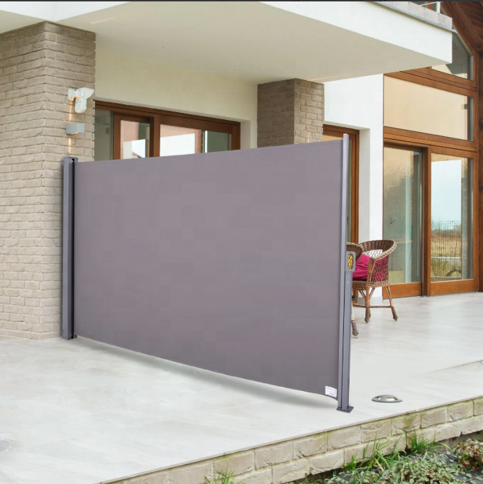 outdoor retractable folding vertical wind screen 3 1 6m privacy divider side awning with steel pole for garden buy outdoor retractable folding