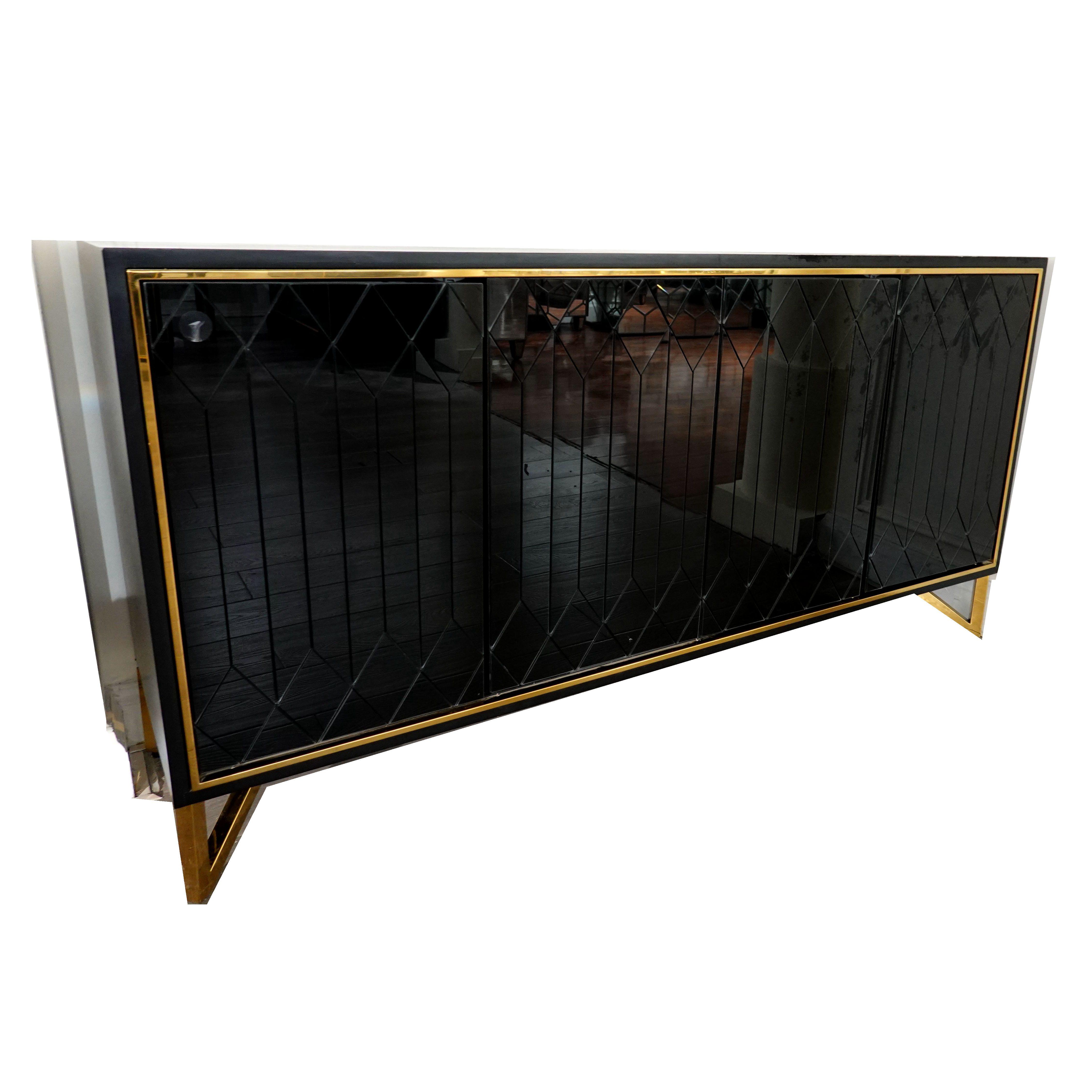 Guanye горячая Распродажа современный сервант в сдержанном стиле деревянная мебель черное зеркало сервант, буфет шкаф