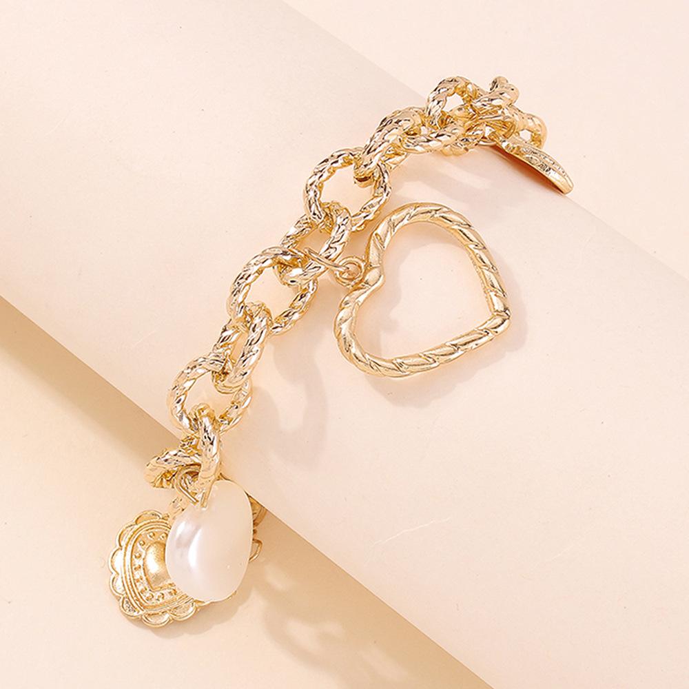 Новое поступление, преувеличенный толстый позолоченный браслет-цепочка из сплава, модный регулируемый браслет в форме шарма в стиле панк для женщин