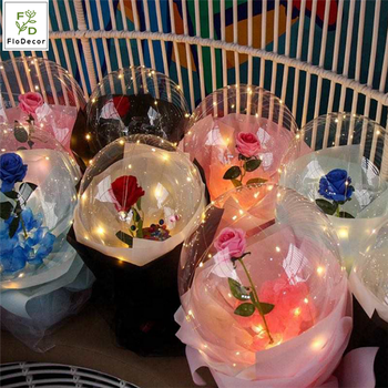 NEW Arrival LED Luminous Bobo Ball Balloon with Rose Light Wave Ball for Mother's Day Valentine's Day Gift New Year