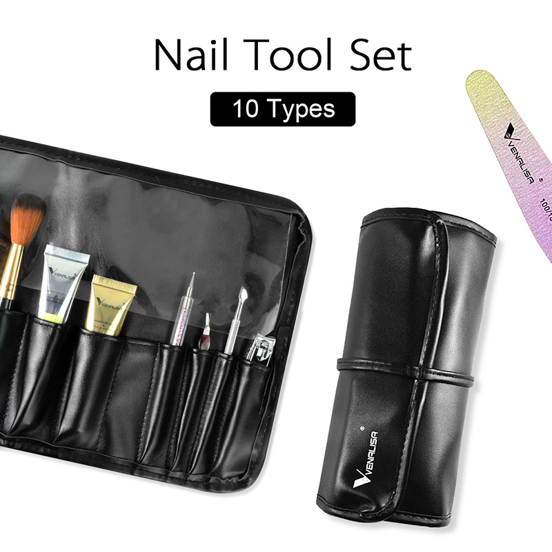 Newest Venalisa Nail Art Manicure Tools kit Include Clipper Cuticle Oil Softener Dust Brush Files Combination Nail Learner Kit