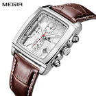 Megir 2028 Men Quartz Watches Hot Sell watches Casual Leather Band Analog Calendar Chronograph Square Waterproof Male Timepiece