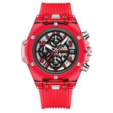Switzerland Алмазная резка Япония Miyota кварц прозрачный силиконовый Многофункциональный чистая красные женские часы relogio feminino(Китай)