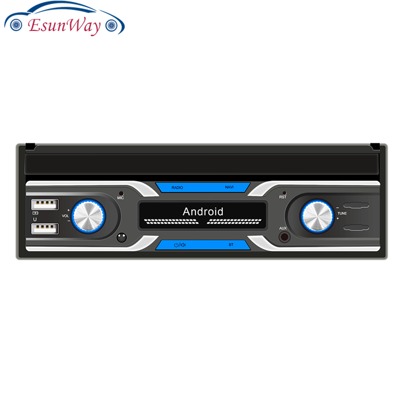 Автомобильный стереоприемник EsunWay 1DIN с выдвижным дисплеем 7 дюймов, спутниковый ТВ-тюнер, Android 10,1, радиоприемник, автомобильный радиоприемник, мультимедийный плеер