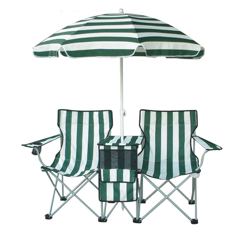 Stripe double camping chair folding beach chair with removable umbrella outdoor twin chair