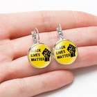 Factory Hoop Dangle Drop Earrings Ladies Girls Statement Silver Color I can't Breathe Black Lives Matter Glass Cabochon Earrings
