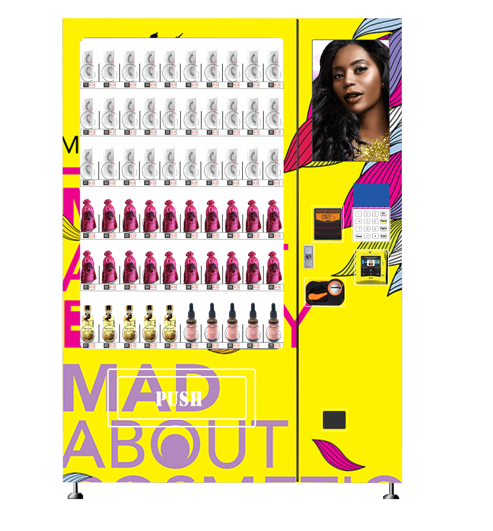 Digital vending machines for false lashes with touch screen monitor