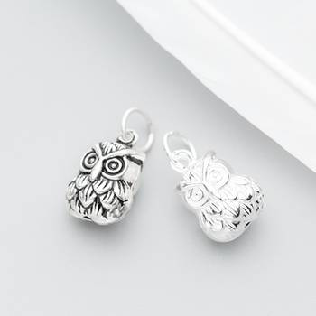 OWL DANGLE CHARM BEAD PENDANT 925 STERLING SILVER S0658