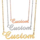 KRKC Custon Titanium Silver Rose Gold 3 Initial Name Plate in Necklace Set Custum Arabic Small Solid Gold Filled Name Chain
