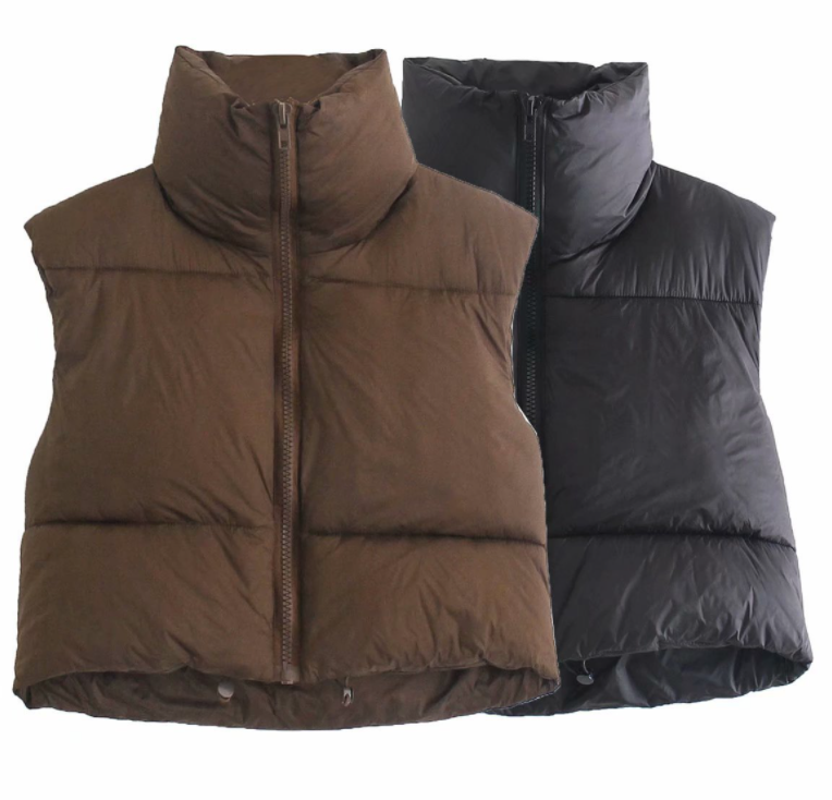 Woman Lightweight Zipper Jacket Female Women Puffer Vest Fashion Fall Winter Stand Collar Warm Outwear Ladies Vest Down Feather