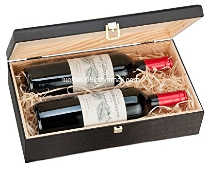 Double Bottle Wooden Luxury Gift Box for Wine Champagne or Whisky ( Black )