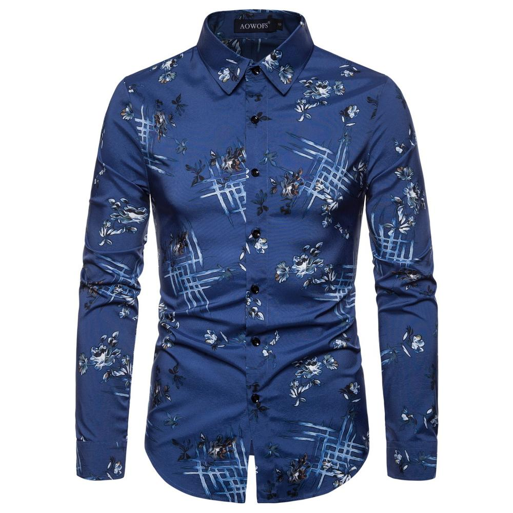 Factory low price customization Wholesale Sexy custom Plus Size Hawaiian Casual Long Sleeve Floral Print polo Shirts For Man