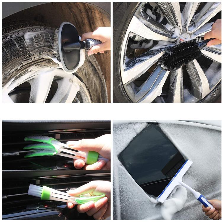 25Pcs Microfibre Car Wash Cleaning Tools Set Towels Applicator Pads Sponge Care Wheel Brush Car Cleaning Kit