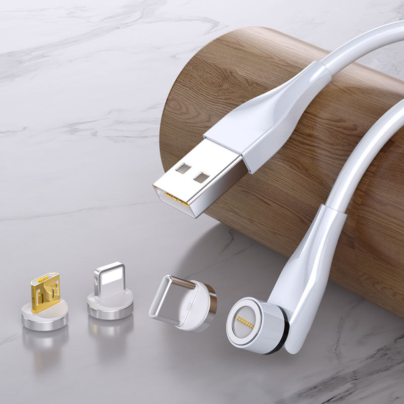 Factory cheap oem rotate 3 in 1 Type C Micro USB ios phone 540 degree magnetic data cables magnet 5v 3A fast charging USB cable