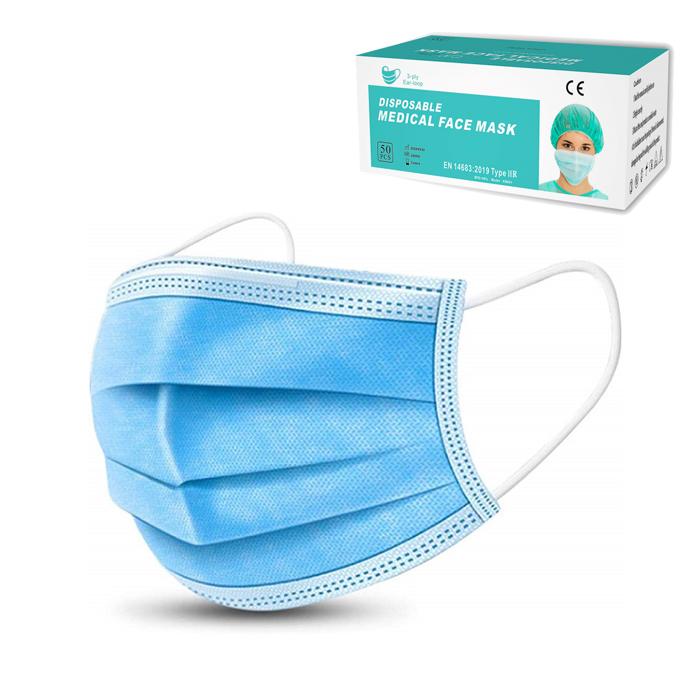 CE approved EN14683 Type II Surgical Face Mask Logo Customized Printing Disposable Medical Facemask masque Mascara facial