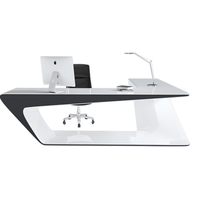 High end white painting luxury modern executive desk office table design