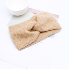 Женская вязаная повязка на голову, винтажная эластичная повязка на голову с перекрещенными узелками, аксессуар для волос на осень и зиму(Китай)