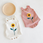 ins 2020 autumn organic cotton baby rompers baby girl sunflower strap cropped knitted woolen jumpsuit romper clothes