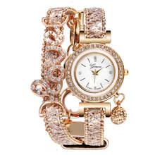 VOHE Топ бренд для женщин браслет часы дамы Любовь кожаный ремешок Стразы кварцевые наручные часы Роскошные модные кварцевые часы(Китай)