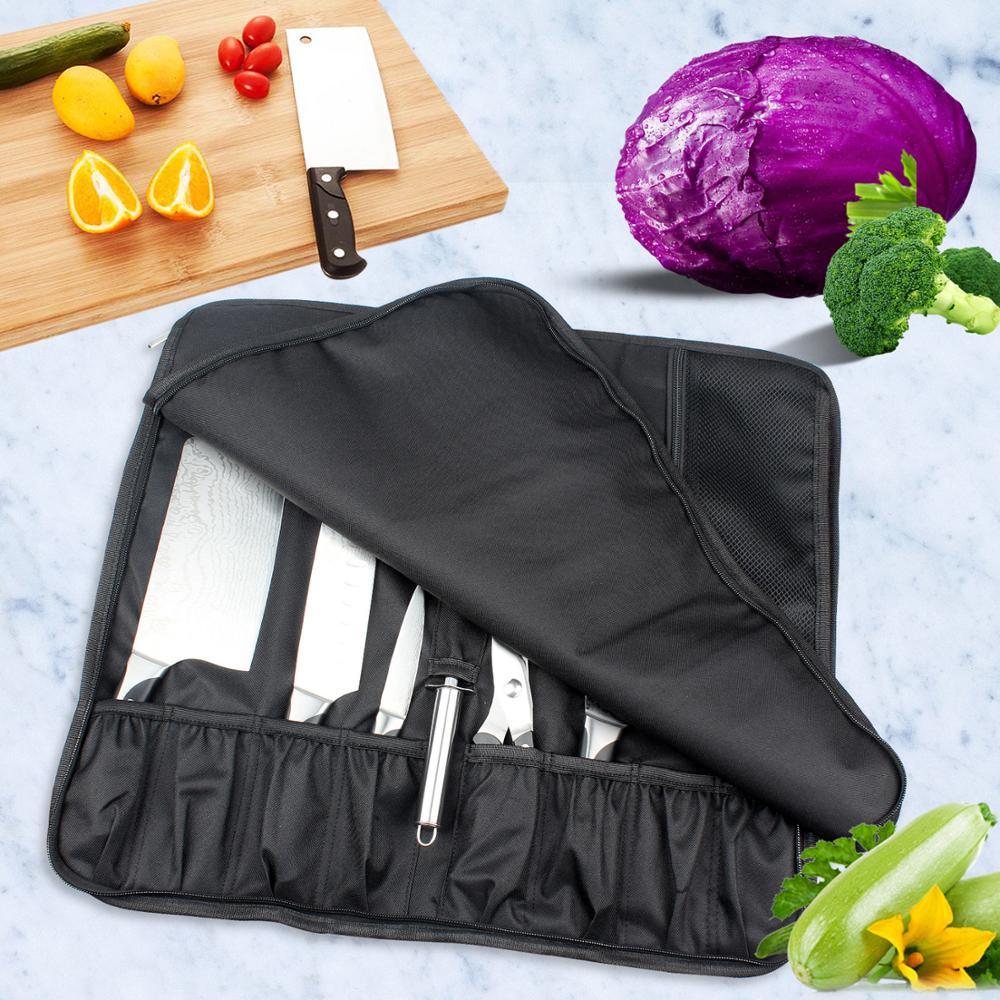 Сумка для ножей шеф-повара, нейлоновый чехол с 8 карманами для кухонных аксессуаров, портативный держатель для ножей на заказ