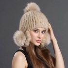 Winter Mink Fur Hat Factory Wholesale Winter Knitted Russian Style 100% Real Mink Fur Hat For Women