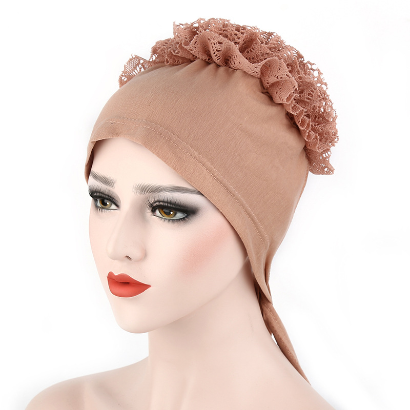 New design Fashion big flower lace muslim hijab undercap