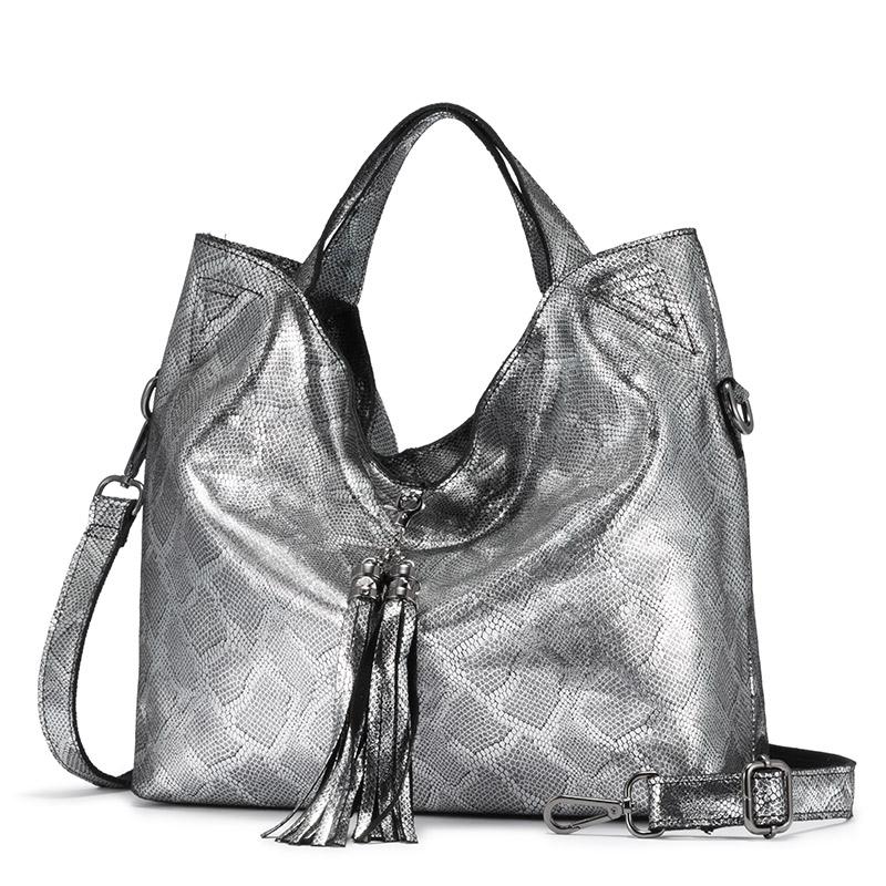 REALER женская сумка из натуральной кожи, Большая вместительная женская сумка, дизайнерские змеиные принты, женские сумки на плечо с кисточкой(Китай)