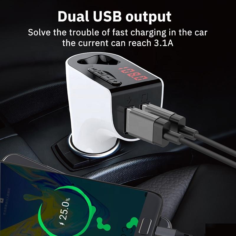 V14 Wireless BT Receiver Car Kit FM Transmitter Radio Adapter with BT Headset Handfree Earphone Kit