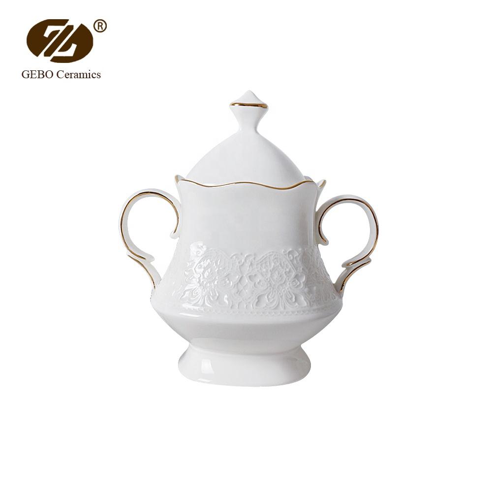 Fine China Tableware Ceramic Honey Jar with Lid Porcelain Earing Sugar Pot