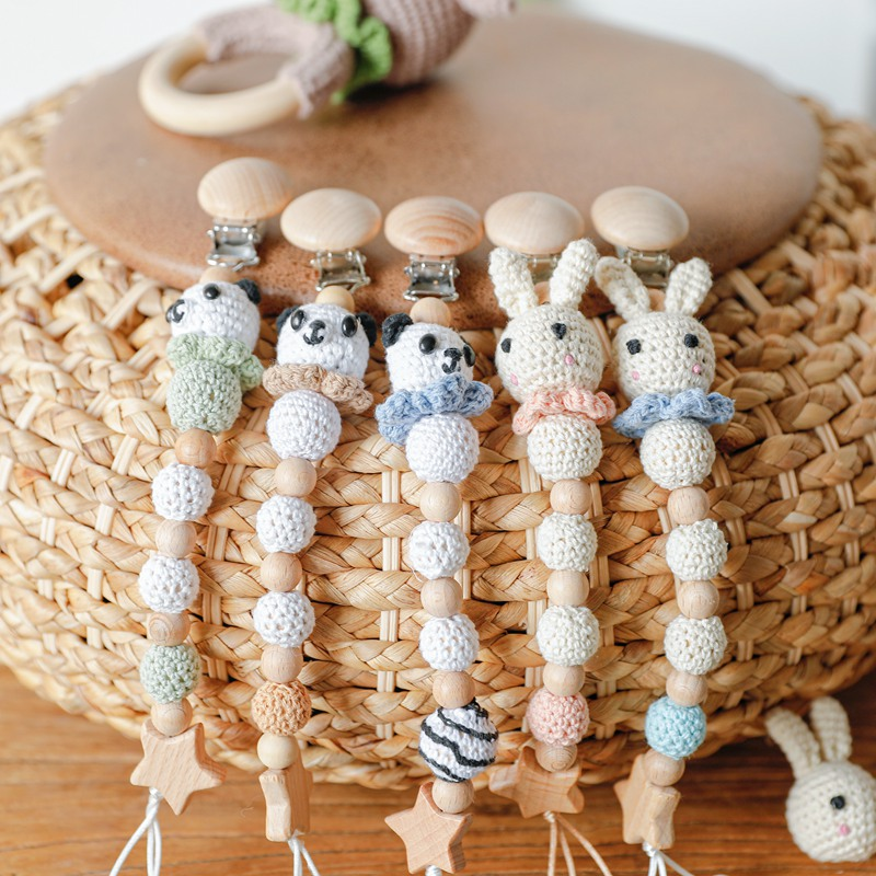 Wooden Pacifier Chains Rabbit Crochet Beads Baby Pacifier Clips Personalized Attache Sucett Dummy Mam Pacifiers Nipple Holder