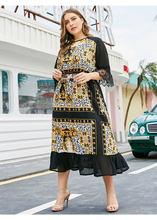 Новинка, черное элегантное платье с принтом знаменитостей и Высокой Талией большого размера, кружевное платье с рукавами, круглым вырезом и...(Китай)