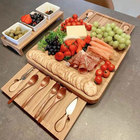 Top Family Amazon Top Seller Low MOQ Thick Wholesale Natural Bamboo Cheese Board And Knife Set With Slate Plate Family Restaurant