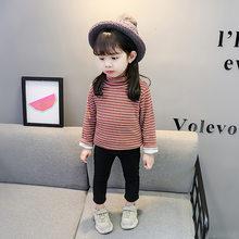 2019 Новая Осенняя модная футболка для девочек Детская Хлопковая Вельветовая теплая универсальная куртка с длинными рукавами и высоким воро...(Китай)