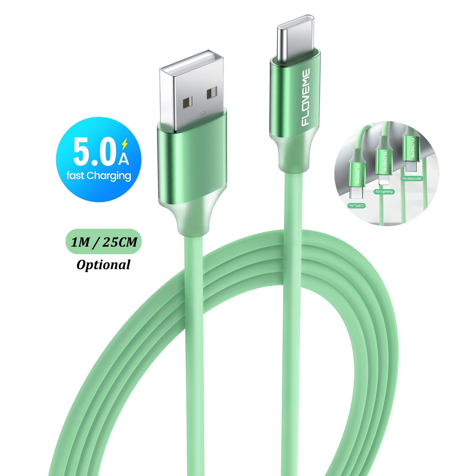 Бесплатная доставка 1 образец ок FLOVEME 1 м черный зеленый 5А передача данных кабель для быстрой зарядки Usb Type C