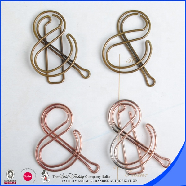 Ampersand shape paper clip with rose gold finished