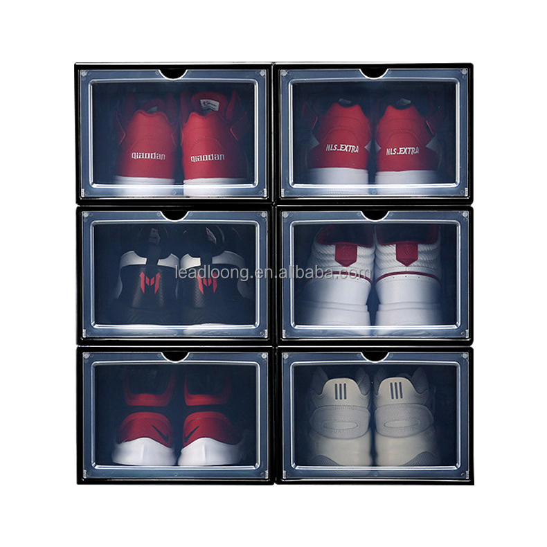 Stackable sneaker slide out clear transparent pp plastic foldable storage black and white Positive open shoe box