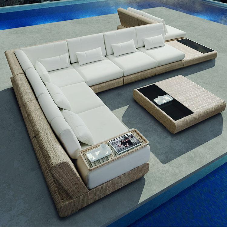 Роскошная уличная мебель, L-образная плетеная уличная мебель из ротанга для дворика и сада
