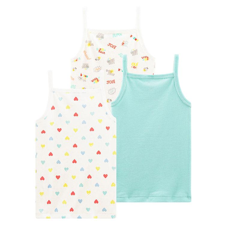 Knitted Singlet Children Camisole Kids Tank Crop Girls Sleeveless Undershirt Vest Top Wear Breathable/Sweat Releasing / 3Pieces