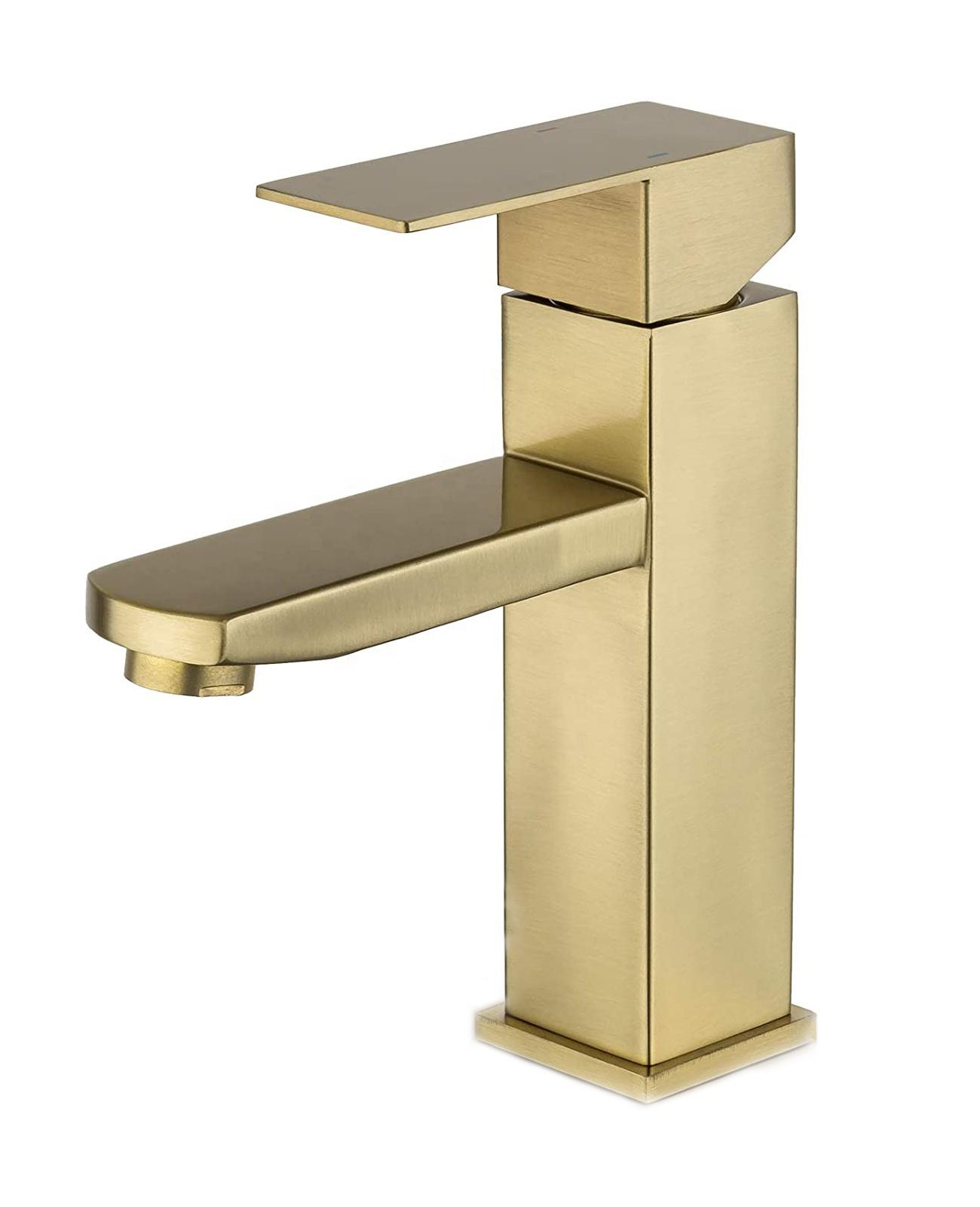 Квадратный смеситель для ванной комнаты из нержавеющей стали Матовый Золотой смеситель для раковины